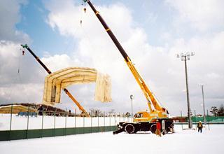 導入事例006:伸縮式テント倉庫 積雪タイプイメージ