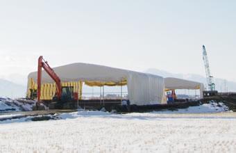 伸縮式仮設テント倉庫 積雪タイプ画像その2