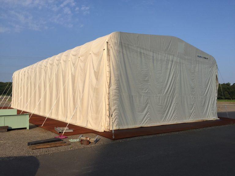 導入事例001:伸縮式仮設テント倉庫イメージ
