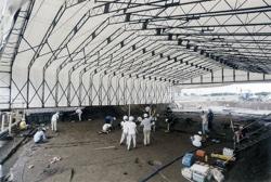 導入事例005:伸縮式仮設テント倉庫イメージ