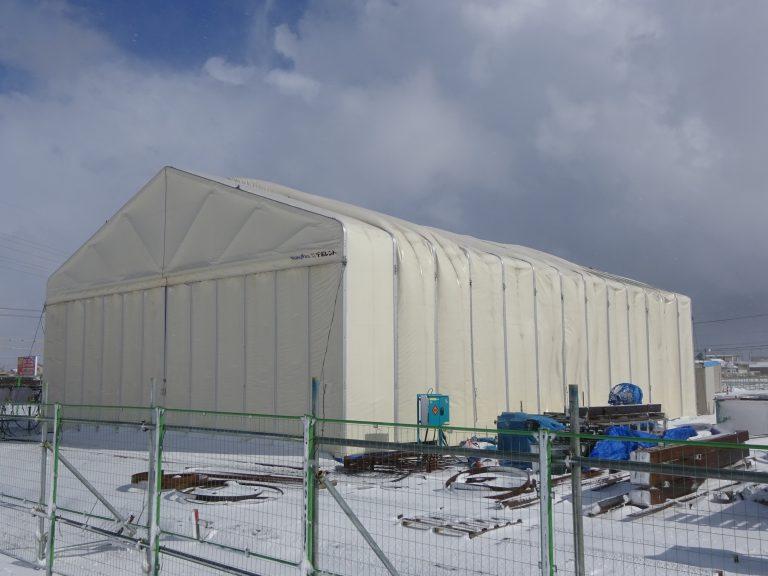 導入事例003:新型伸縮式仮設テント アルジャバラ積雪タイプイメージ