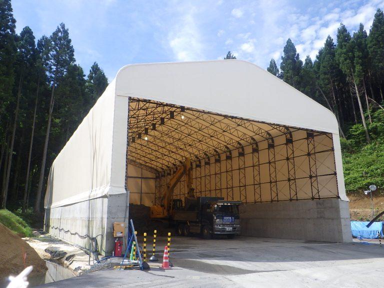 導入事例007:固定式テント倉庫イメージ